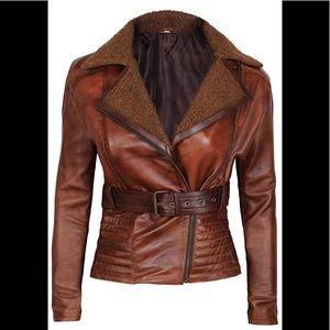 💫 🧳 Real Leather brown jacket fur collar new
